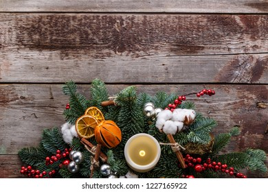 Top view christmas decoration background with copyspace.