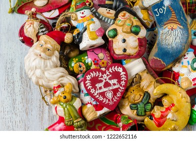 Top view of Christmas decorations, on wooden background