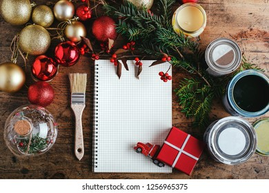 Top view for Christmas decorations with space for your wishes, wooden table top for painters, builders, mechanics. place for text. Christmas background