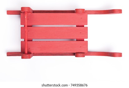 Top view of a Christmas sleigh on a white background