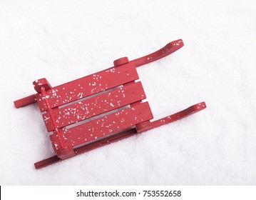 Top view of a Christmas sleigh on the snow