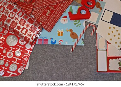 Top view of Christmas wrapping goodies