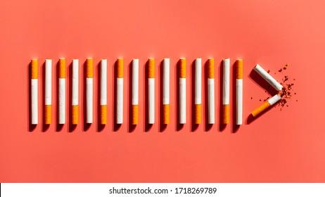 Top view cigarettes addiction. Breaking bad habit.