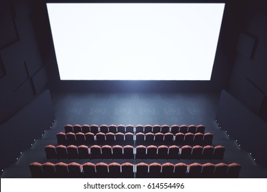 Top view of cinema with blank screen. Mock up, Ad concept, 3D Rendering
