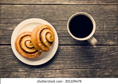 top view of cinnamon buns and coffee