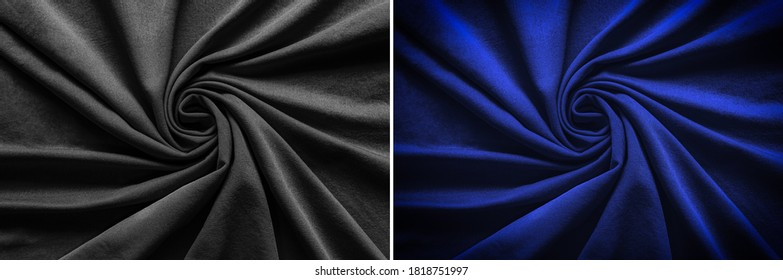 Top view of circular spiral fabric, black and blue cotton fabric, blue and black cloth background, Spiral swirl fabric, swirl cloth, Twisted background, twisted cloth,