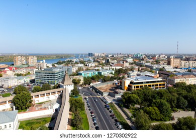 Top view of the city of Astrakhan and the Astrakhan Kremlin. Russia