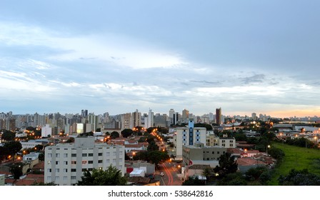 Top view of the city of Campinas, in Brazil, during the sunset