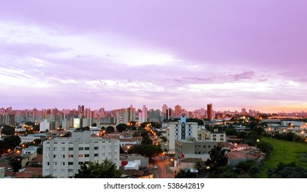 Top view of the city of Campinas, in Brazil, purple sunset