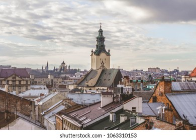 Top view of the city of Lviv, Ukraine. Roofs of old houses.