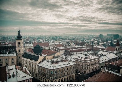 Top view of the city of Sibiu, Romania. Winter landscape