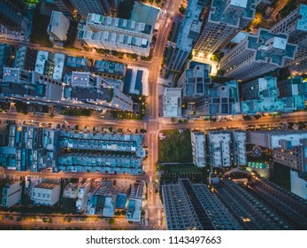 Top View of City Street - City, Building, Real estate concept image. Birds eye top view use the drone, shot in Zhubei City, Hsinchu, Taiwan.