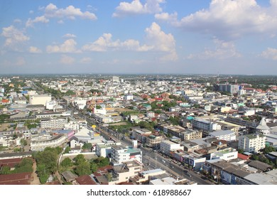 Top view of the city from the tower ,the view of city from high angle ,Nakhonratchasima ,Thailand.