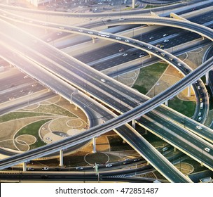 Top view city traffic of highway and bridge, logistics, vintage nature background