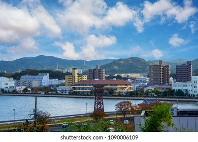 The top view Cityscape of Karatsu city located in Saga Prefecture on the island of Kyushu, Japan, view from Karatsu castle