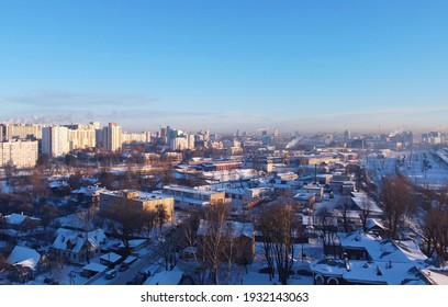 Top view of the cityscape on a winter day. 26 February 2021. Minsk, Belarus