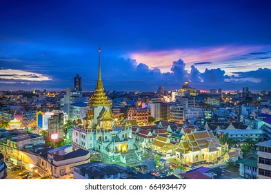 Top view cityscape Wat Trimitr in chinatown or yaowarat area in bangkok city, Bangkok, Thailand.