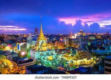 Top view cityscape Wat Trimitr in chinatown or yaowarat area in bangkok city, Bangkok, Thailand.