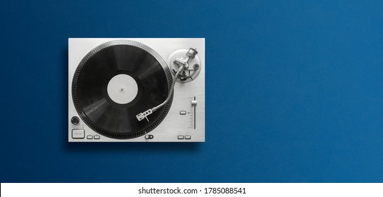 top view of a classic record player flat lay, simple minimalism concept wit copy space