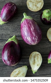 Top view close up of eggplant, aubergine, or brinjal is a plant species in the nightshade family Solanaceae