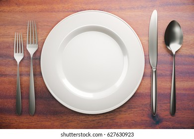 Top view and close up of empty ceramic plate and cutlery on brown wooden table. Mock up, 3D Rendering
