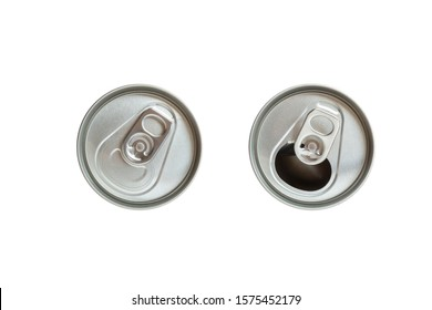 Top view close and open cap of beer or soft drink can isolated on white background