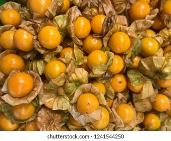 Top view and close up orange organic cape gooseberry fruit, selective focus