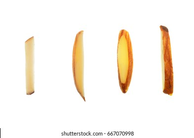 Top view close up photo image on four pieces of sliced almond seed in bar shape isolated on bright white background