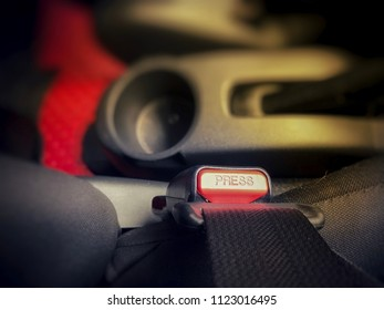 Top view and close up: Seat belt of car at driver seat. Safty driving concept. Selective focus and blurred background