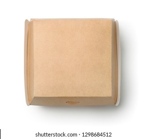 Top view of closed blank burger box isolated on white