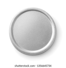Top view of closed metal round  container isolated on white