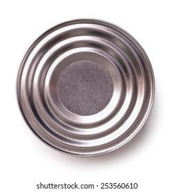 Top view of closed tin can isolated on white