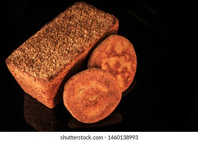 top view closeup rectangular ray bread and two flapjacks