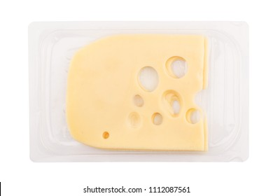 top view closeup of square cheese smoked slices with holes in transparent packaging tray isolated on white background