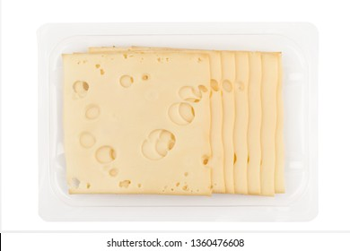top view closeup of square cheese smoked slices with holes in packaging isolated on white background