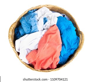 Top view, Clothes on wicker baskets for washing preparations whit white background, housework concept