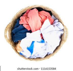Top view, Clothes on wicker baskets for washing preparations with white background, housework concept