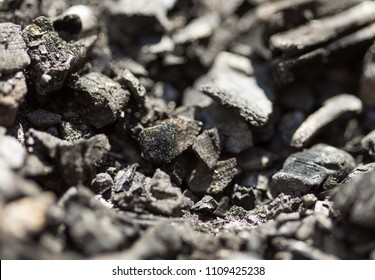 Top view of a coal mine mineral black for background. Used as fuel for industrial coke