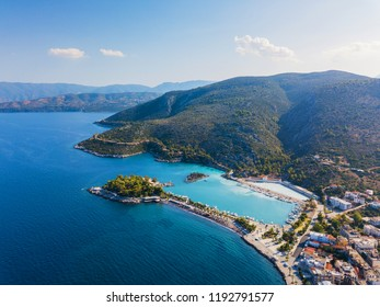 Top view of a coastal line. Peloponnese, Greece. Aerial drone bird's eye view photo.