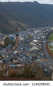 Top view of Cochem city from Cochem castle (Reichsburg Cochem) in Chrismas season at Cochem, Germany.