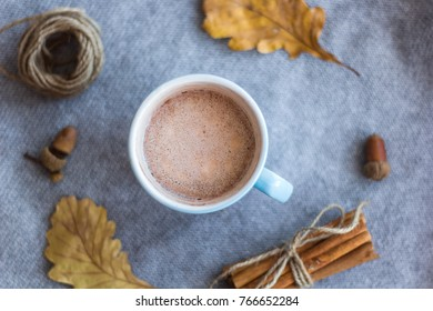 top view cocoa cup and atumn leaves