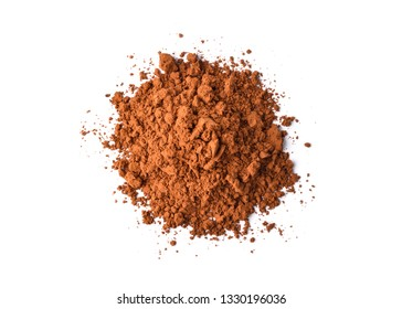 Top view of Cocoa powder isolated on white background.