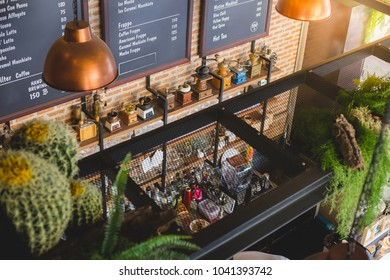 Top view of coffee bar with machine and device for make beverage  full decoration