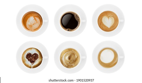 Top view coffee cup collection, coffee cup assortment with shape sign collection isolated on white background. Save with clipping path