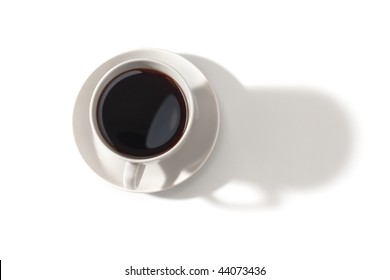 Top view of coffee cup with shadow isolated on white