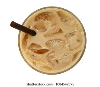 Top view of coffee latte cappuccino with ice in glass isolated on white background, clipping path included