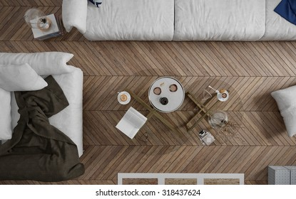 Top view of coffee table in the living room - 3 d render using 3 d s Max