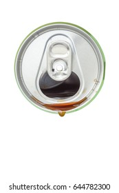 Top view of cola beverage over from the green aluminum beverage can on white background.