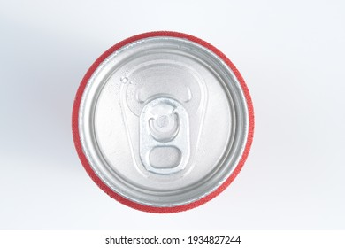 top view of cold red aluminum can, drinks, soda or beverage isolated in white background