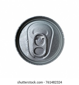 Top view of a cold, unopen pop top beverage can with pull-ring and water droplets isolated on white background, working path included